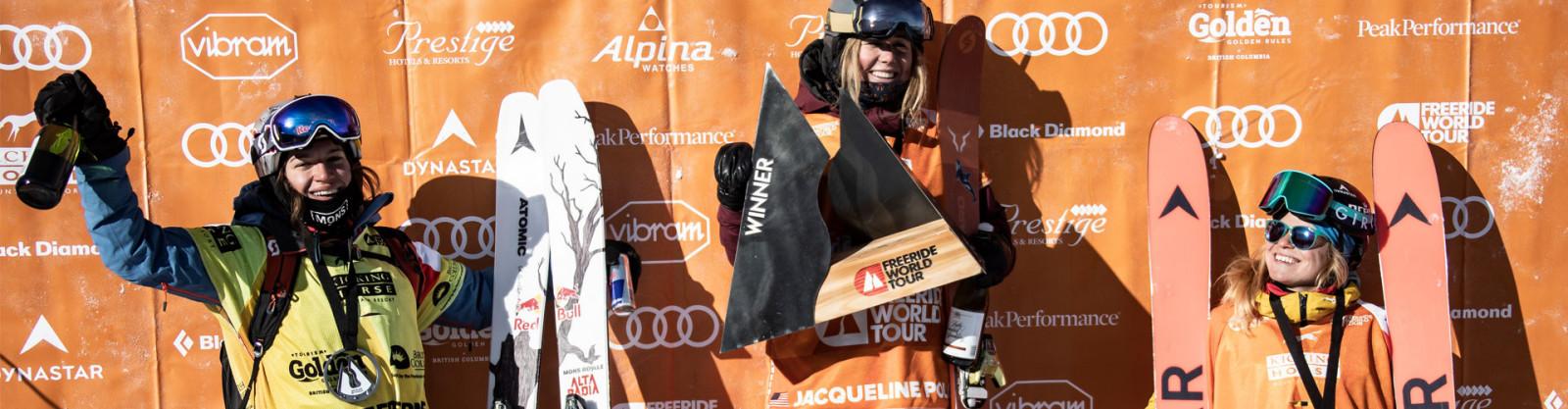 Hazel Birnbaum on the podium of the Freeride World Tour in Kicking Horse.